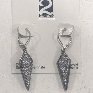 GUNMETAL VELEN CRYSTAL KITE DROP EARRINGS